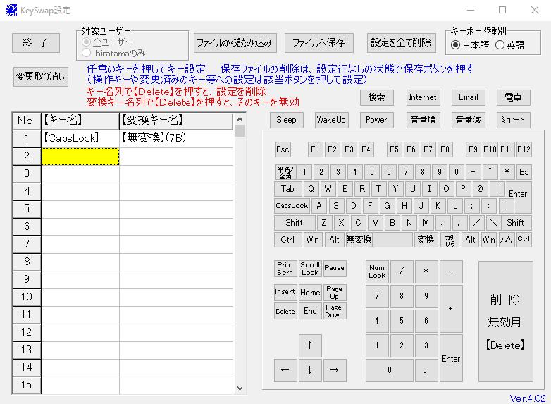 KeySwapのキーボード種別を日本語にして設定した後…